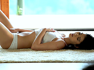 Gorgeous Lady D gets naked on the floor and thumbs