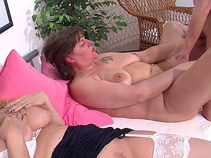Vivacious granny with awesome juggs liking a gonzo threesome
