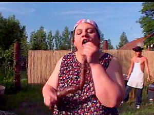 Mature fat farm woman gets her twat pounded outdoors