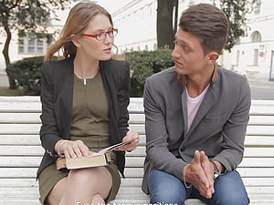 Meeting a nerdy chick and taking her back home for a fuck