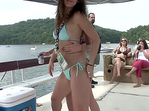 Foxy fledgling honies in swimsuits love partying outdoors
