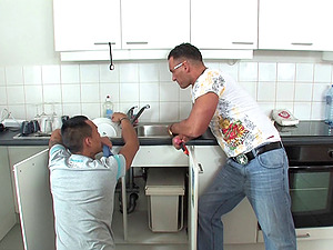 Housewife Mummy gets her asshole fucked by two plumbers