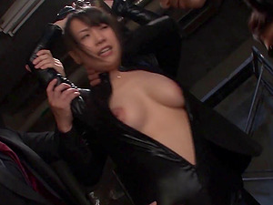 Cuffed stunner in a leather catsuit stripped and fucked by a group