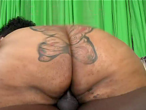 An black BBW gets down on all fours to take a dick from behind