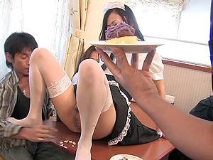 Two guys fucking a maid's mouth and playing with her asshole