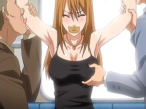 Ball-gagged anime porn honey gets gang-fucked