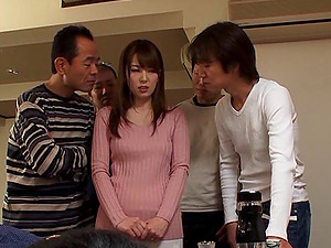Obedient Japanese wifey puts on a fuck flash for their company