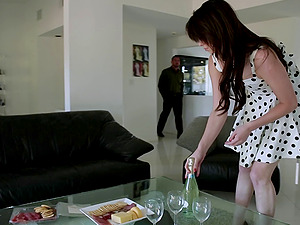 A nice stud shares his hot female with another fellow in a threesome