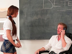 Older fellow talking on the phone while getting a oral pleasure from a teenager