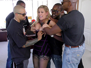 A group of of black guys group sex and jizz all over a milky Mummy