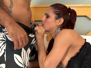 Penis sucking tranny drilled hard and receives jizm on her big culo