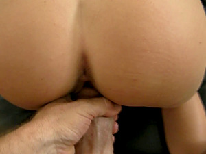 Black-haired woman has her hairy cunt drilled by a fat manstick