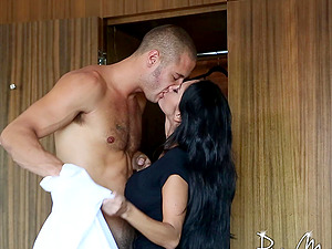 Outstanding Mummy in a sexy sundress deepthroating a businessman's penis