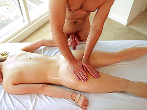 Oily rubdown of a blonde's bod turns into a sultry affair