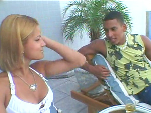 Latina and her promiscuous friend share a big jizz-shotgun outdoors