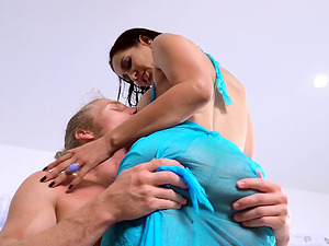 Gorgeous dark haired with stunning hairy twat fellates a manstick pending doggystyle intrusion