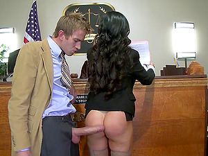 Inveigle honeys give in to gonzo fucking at a courtroom in a reality shoot