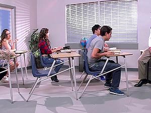 Nasty school gal sit their puckers against a chunky jizz-shotgun drilling them hard-core