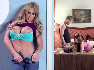Step mom leaps in to have a humid, hard-core threesome