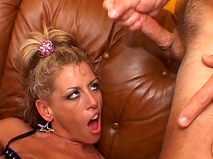 Insatiable blonde Mummy likes rough gangbangs and spunk on her face
