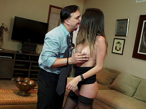 Enticing Mummy with faux big tits has an intense affair