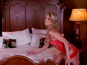 Truly stunning blonde in a flawless crimson undergarments set