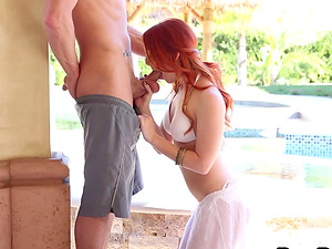 Hypnotizing ginger-haired honey banged hard next to the topical pool
