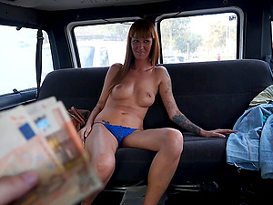 Long legged chick with a tramp stamp rails hard dick in the van