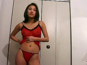 Perky Asian titties are sexy in her sheer undergarments sets