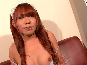 Hypnotic ginger-haired shemale from Japan determines to do the getting off