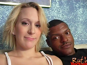 Preggo interracial fuck with a big facial cumshot in her eye