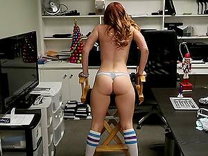 Solo unclothing redheaded pornographic star Dani Jensen masturbates