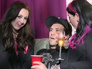 Joy behind the scenes activity with tattooed punk sex industry stars