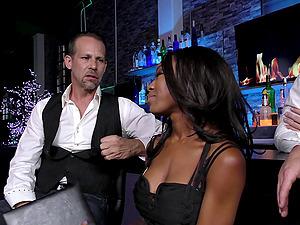 Guys at the bar gang-bang a sexy black lady
