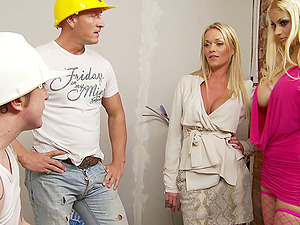 Horny construction employees providing the sexy blondes with their sausages