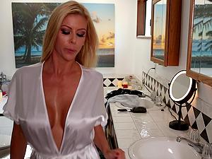Cougar in a soft milky satin bathrobe seduced by a girly-girl beauty