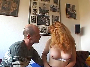 Bashful fledgling red-haired gets naked for him to be fondled