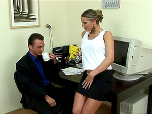 She's very horny and the co-worker is going to help her with that