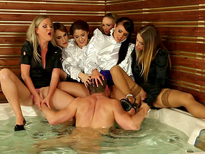 Luckiest boy is encircled by horny chicks who want to rail his dick
