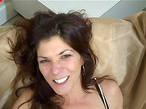 Nice smile on this dirty mature whore getting butt fucked