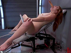 Sandy-haired Damsel in Glasses Loving Orgasms from a Fucking Machine