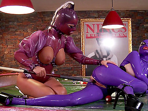 Spandex fetish ladies with big faux titties have kinky hump