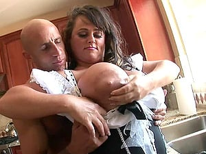 Bald fellow cheerfully provides the chick with large tits with a large dick