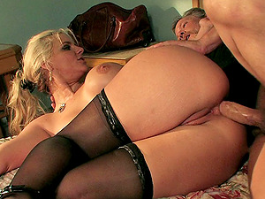 Superstar tart in a dingy motel room fucks an old fellow
