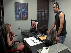 Office fuckslut Chloe Cane rails on her coworker's massive shaft