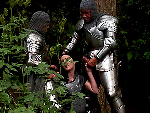 Knights and a dirty cockslut have dual invasion fuck-a-thon in the forest