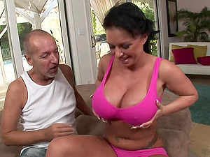 Tattooed cowgirl with big nips in bathing suit providing massive dick superb boob fucking
