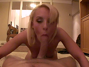 Point of view shoot of blonde with hot bootie providing her fellow blow-job