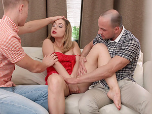 Lusty senorita eventually has bang-out with two horny guys at once