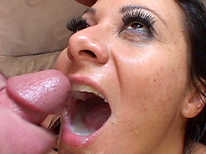 Attractive suntanned damsel getting one schlong per each of her fuck holes